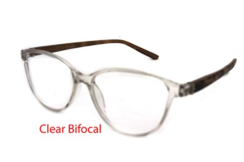 Shiny Glass Amber Tortoise (ColorViper Vintage Classic cateye reading glasses for women clear BiFocal CAT EYE (A1 shiny clear light tortoise/clear bifocus lens, 2.25))