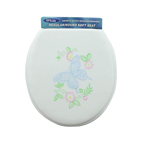 Aqua Plumb Aqua Plumb CTSEW Round Soft Toilet Seat - White with Embroidered Butterfly