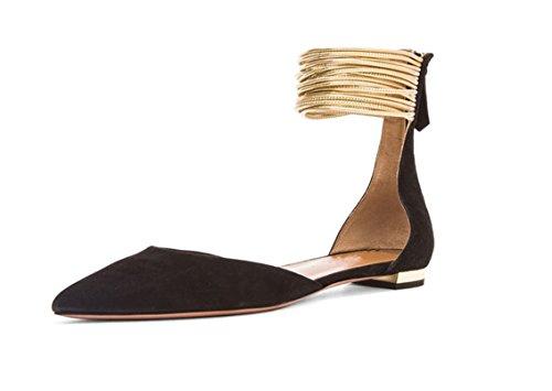 Femmes Des amp;C Décoratives 37 J Plates Black Pour Pointu Avec Plates Chaussures Chaussures Bout 0dqaza