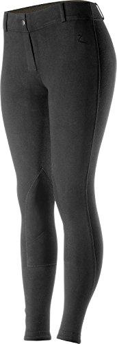 Horze Ella Women's BLACK Pull-On Knee Patch English Dressage Show Breeches (US 30/EU 42) by Horze