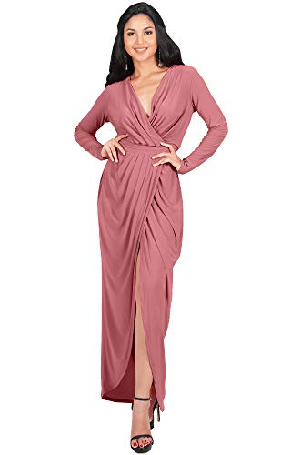 KOH KOH Womens Long Sleeve Full Length V-Neck Sexy Wrap Empire Waist Formal Winter Fall Cocktail Wedding Evening Gown Gowns Maxi Dress Dresses, Cinnamon Rose Pink L 12-14 ()
