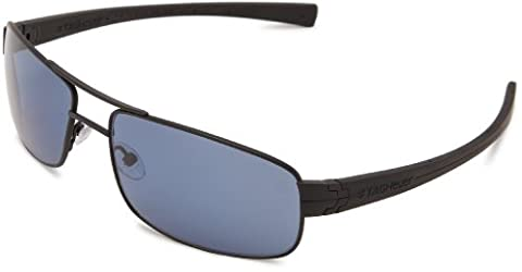 Tag Heuer LRS 254 401 Polarized Rectangular Sunglasses,Black,61 mm (Tag Heuer Women Black)
