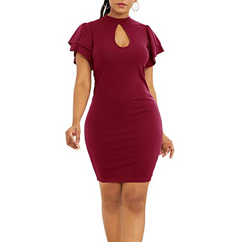 Skirt Charm Ruffled (alignmentpai Women's Dresses, Summer Sexy Ruffled Short Sleeve Cutout Solid Color Bodycon Mini Dress for Beach Party Red L)