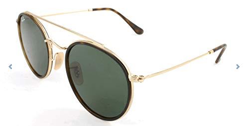 f9d5c01d8627f9 RAYBAN JUNIOR Unisex-Erwachsene Sonnenbrille Round Double Bridge,  Gold/Green, 51: Amazon.de: Bekleidung