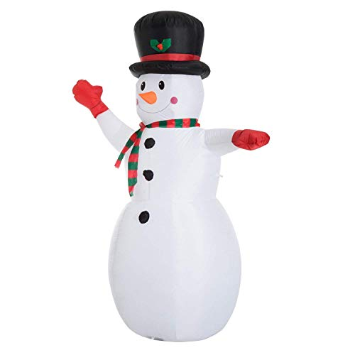 Let it snow 6 Foot Inflatable Waving Snowman with Tophat That self inflates and Lights up with 3 LED Bulbs