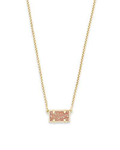 Gold Rectangular Pendant - Kendra Scott Pattie Sand Drusy Stone Gold Rectangular Pendant Necklace