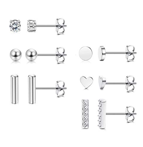 Milacolato 6 Pairs 925 Sterling Silver Stud Earrings Set CZ Bar Ball Tiny Earring Stud Hypoallergenic Set Sensitive Ears