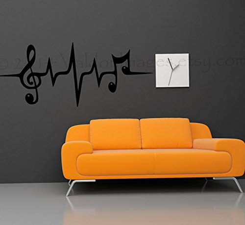 Waldenn Music Note Heartbeat Quote Vinyl Wall Decal Words DIY Decor Sticker 36   Model DCR - 1364]()