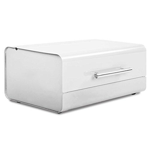 casa pura Rectangular Steel Kitchen Bread Box, White, Siya | 15