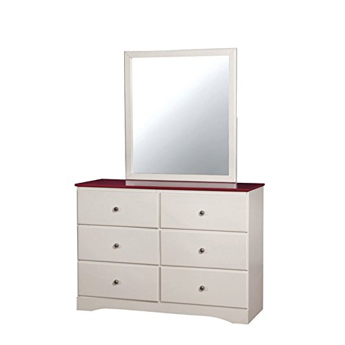 HOMES: Inside + Out Beller Transitional Dresser and Mirror Set, Pink & White