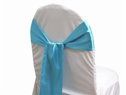 MDS Pack of 50 satin chair sashes bow sash for wedding and Events Supplies Party Decoration chair cover sash -Terquoise