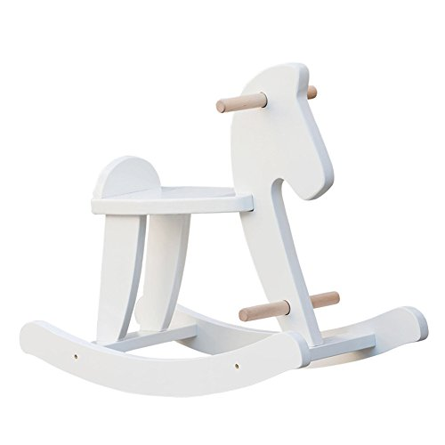 Labebe Child Rocking Horse, Wooden Rocking Horse Toy, White Rocking Horse for kid 1-3 Years, Vintage Rocking Horse Set/Kid Rocking Horse Chair/Outdoor Rocking Horse/Rocker/Animal Ride/Rocking Toy (Chair Horse)