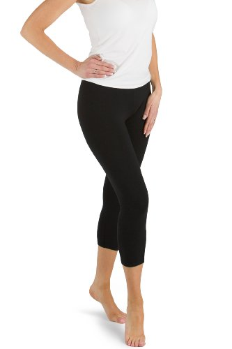 Womens Organic Cotton Tights Leggings (Fishers Finery EcoFabric Capri Legging; Casual Lounge Legging (Black, M))