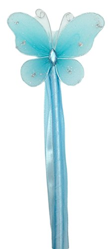 Hairbows Unlimited Girls Butterfly Princess Dress-up Wand Fairy Costume Halloween Idea (Light Blue) ()