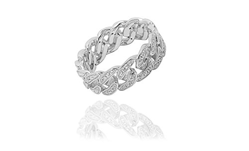 (NYC Sterling Women's Sterling Silver Cubic Zirconia Curb Link Ring (Sterling-Silver, 8))