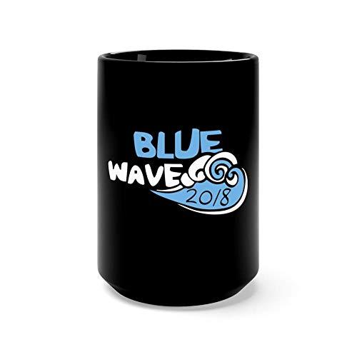 Blue wave 2018 15 Oz Fine Ceramic Mug With Flawless Glaze Finish.