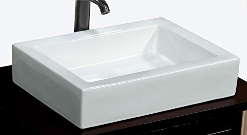 (Bathroom Rectangular Ceramic Porcelain Vessel Vanity Sink 7241 + free Pop Up Drain with no overflow)