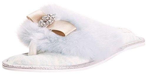 Davids Bruids Nepbont En Kristal Versierd Pantoffel Olivia Blauw