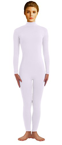 VSVO Adults White Lycra Long Sleeve Unitards One Piece Bodysuit Dancewear (X-Large, White)