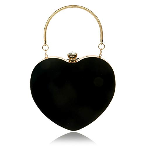 Evening Bags Heart Shaped Diamonds Red/Black Chain Shoulder Purse Day Clutch Bags,black (Shaped Purse Heart Red Beaded)