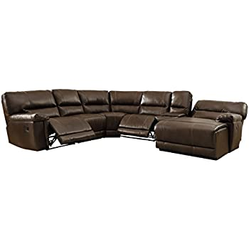 Homelegance 6 piece bonded leather sectional reclining sofa with chaise brown - Leather reclining sectional with chaise ...
