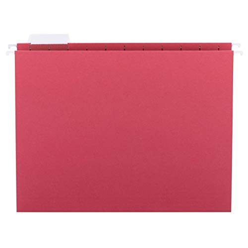Smead Hanging File Folder with Tab, 1/5-Cut Adjustable Tab, Letter Size, Red, 25 per Box (64067)