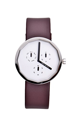 Issey Miyake Twelve Mult--Function White Dial Maroon Leather Mens Watch SILAP017