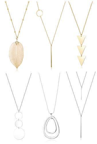 FUNRUN JEWELRY 6PCS Long Pendant Necklace Set Bar Circle Leaf Y Necklace Arrow Statement Necklace for Women (A: Silver Tone+Gold Tone)