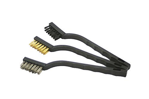 "ABN 7"" Inch Mini Wire Detail Brush 3-Piece Set - Nylon, Brass, Stainless Steel - Metal Brushes for Cleaning & Automotive"