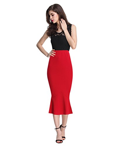Sue&Joe Women's Mermaid Skirt High Waist Fishtail Hem Plain Bodycon Pencil Skirts, Red, 10-12