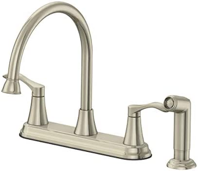 EZ-FLO 10719 Two-Handle High-Rise Kitchen Faucet with Matching Side Spray, Brushed Nickel