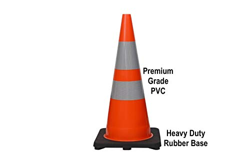 CJ Safety 28'' Height Orange PVC Traffic Safety Cones with Black Base & 6'' + 4'' Reflective Collars (8 Cones) by CJ Safety (Image #1)