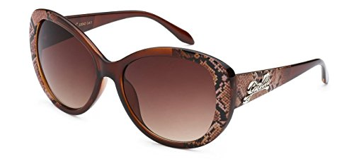 Giselle Eyewear Oval Cat-Eye Snake Skin Pattern Designer Sunglasses, Brown, Brown - Sunglasses Snake Eyes