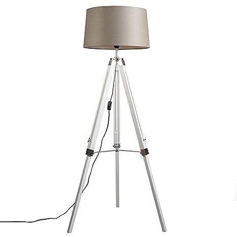 QAZQA Industrial Lámpara de pie TRIPOD blanca con pantalla 45cm lino taupe Madera/Metálica/Textil Alargada Adecuado para LED Max. 1 x Watt