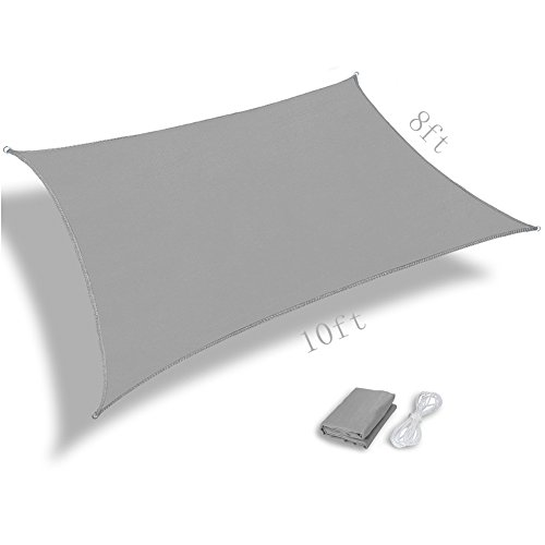 Pannow 8' x 10' Rectangle Sun Shade Sail, UV Block Waterproof Sail Awning Canopy for Outdoor Patio Garden, Gray by Pannow