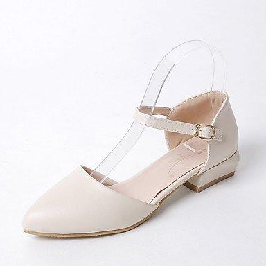 Sandalias Primavera Verano Otoño Zapatos Club PU Oficina & Carrera visten casual Chunky TALÓN TALÓN bajo la hebilla de hueco Beige