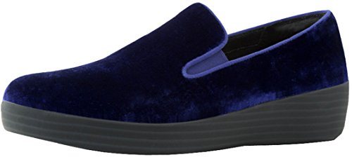 (FitFlop Womens Superskate in Velvet Loafer Shoes, Midnight Navy, US)