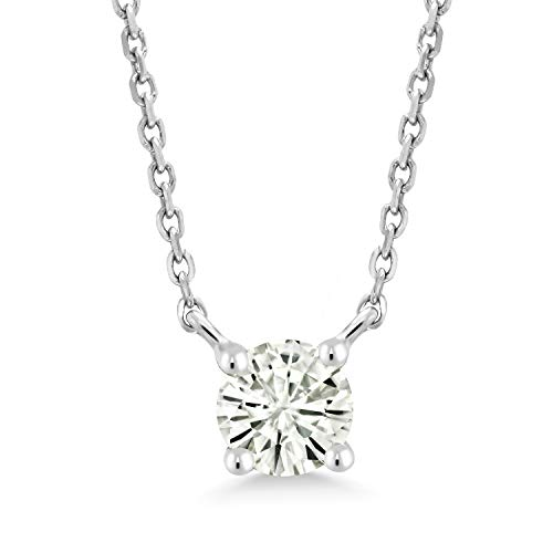 10K White Gold Pendant Necklace Forever Classic Round 0.23ct (DEW) Created Moissanite by Charles & Colvard