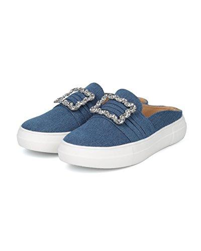 Alrisco Dames Strass Gesp Slip Op Sneaker Mule - Hg80 Door Liliana Collectie Denim
