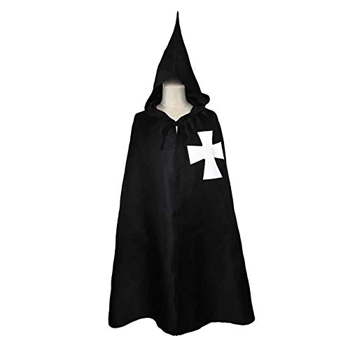 (Medieval Maltese Cross Hooded Knight Cape Templar Robe Costume Hospitaller Cloak Paladin Halloween Costume Adult XXL,)