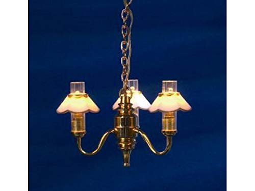 Melody Jane Dollhouse Chandelier Gold Edged Shades for sale  Delivered anywhere in USA