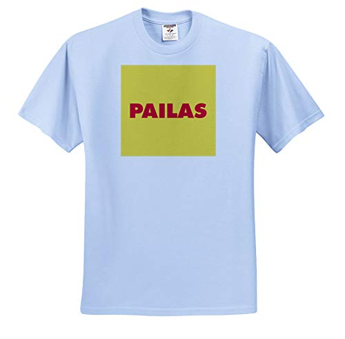 Kike Calvo Colombia Folklore and Traditions - Red Pailas with Yellow Background - T-Shirts - Adult Light-Blue-T-Shirt 2XL (ts_299439_54) from 3dRose
