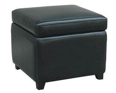 Contemporary Design Black Full Leather Storage Ottoman Review