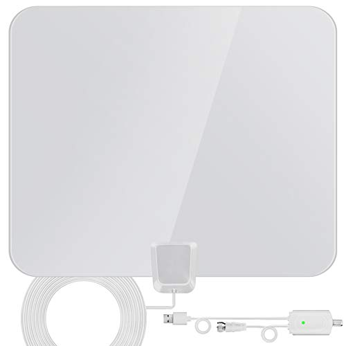 TV Antenna, Indoor Digital HDTV Amplified Television Antenna Freeview 4K 1080P HD VHF UHF for Local Channels 130 Miles Range with Signal Amplifier Support All TV 16.5 feet Coax Cable
