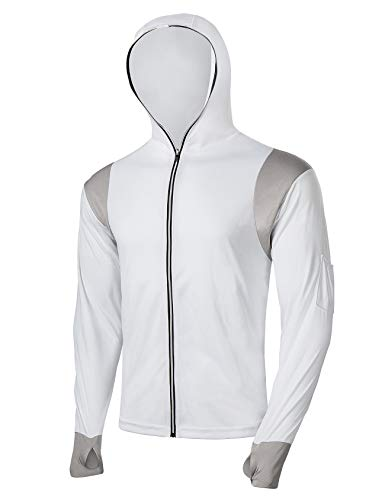 - FitsT4 Men's Sun Protection UPF 40+ UV Outdoor Long Sleeve Quick Drying Mesh Fishing Shirts with Hood/Thumb Hole Full Zipper White L