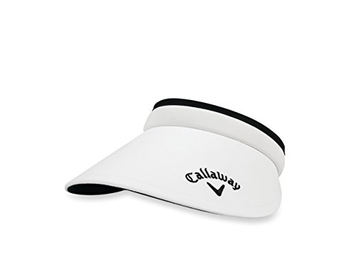 Callaway 2017  Women's Large Brim Clip Visor, White/Black, One Size