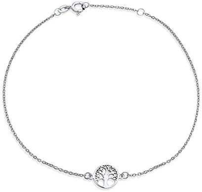 Tree of Life Ankle Bracelet Anklet Silver Plate with Sterling Silver Plate Figaro Chain Gift AS015 Custom Size to You Choose Size