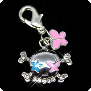 PURELY CHARMING Enameled Pet Charm/Pendant with Handset Swarovski Crystals - Clown Skull & - Enameled Crystal
