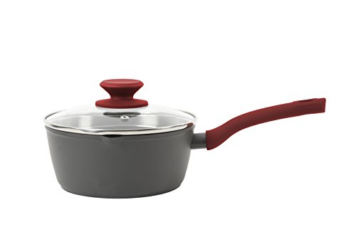 - Weight Watchers 120820.02 Livingson Non-Stick Aluminum Sauce Pan W/Lid, 1.7 Qt, Charcoal with Red handles