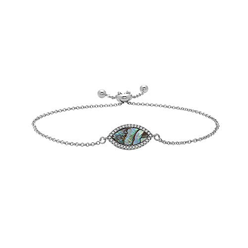 925 Sterling Silver Evil Eye Symbol Adjustable Bracelets- Choose Your Color and Style- Adjustable Bolo Bracelets (Abalone Eye)